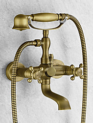 cheap -Bathtub Faucet - Antique Antique Brass Tub And Shower Ceramic Valve Bath Shower Mixer Taps / Two Handles Two Holes