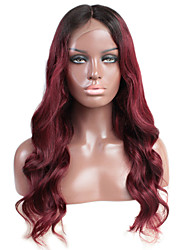 cheap -Remy Human Hair Glueless Lace Front Lace Front Wig Beyonce style Brazilian Hair Body Wave Ombre Wig 130% Density with Baby Hair Faux Locs Wig Ombre Hair Natural Hairline African American Wig Women's