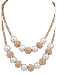 cheap -Women's Chain Necklace Layered Necklace Mother Daughter Leaf Statement Ladies Luxury Elegant Imitation Pearl Gold Plated Alloy Gold Necklace Jewelry For Wedding Party Birthday Casual Evening Party