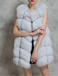 Недорогие -Жен. Большие размеры Пальто с мехом V-образный вырез Уличный стиль - Однотонный, Искусственный мех