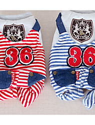 cheap -Dog Jumpsuit Winter Dog Clothes Red Blue Costume Cotton Stripes Casual / Daily XS S M L