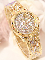 Недорогие -Жен. Имитационная Четырехугольник Часы Часы со стразами Кварцевый сплав Группа Блестящие Серебристый металл Золотистый Розовое золото