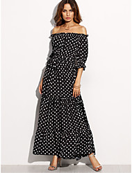 cheap -Women's Off Shoulder Maxi Black Dress Party Holiday Sheath Polka Dot Boat Neck Black Print M L