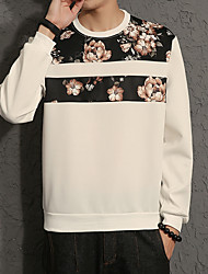 cheap -Men's Plus Size Casual Long Sleeve Sweatshirt - Floral Print Round Neck White XXXL / Spring / Fall