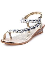 cheap -Women's Sandals Flat Heel Cap-Toe Rhinestone PU(Polyurethane) Comfort / Novelty Summer / Fall Gold / Silver / Wedding / Party & Evening / Party & Evening / EU40