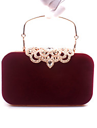 cheap -Women's Bags Velvet Evening Bag Rhinestone Wedding Bags Wedding Party Event / Party Black Blue Purple Red