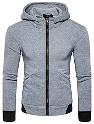 cheap -Men's Basic Long Sleeve Hoodie - Solid Colored Hooded Black L / Fall / Winter