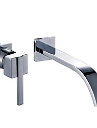 cheap -Bathroom Sink Faucet - Wall Mount Chrome Wall Mounted Single Handle Two HolesBath Taps