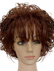cheap -Synthetic Wig Curly Curly With Bangs Wig Short Brown Synthetic Hair Women's African American Wig Brown hairjoy