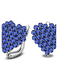 cheap -Women's Crystal Stud Earrings Heart Ladies Simple Style Fashion Sterling Silver Crystal Earrings Jewelry White / Blue For Casual Office & Career