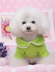 cheap -Dog Dress Dog Clothes Solid Colored Red Green Cotton Costume For Summer Women's Casual / Daily