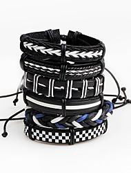 Недорогие -Муж. Wrap Браслеты Кожаные браслеты На заказ Кожа Браслет Ювелирные изделия Черный Назначение Для сцены Для клуба