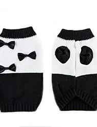 cheap -Cat Dog Sweater Winter Dog Clothes White / Black Costume Chinlon Bowknot Casual / Daily Keep Warm XS S M L XL XXL