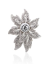 cheap -Women's Brooches Flower Fashion Elegant Rhinestone Brooch Jewelry Silver For Party Casual