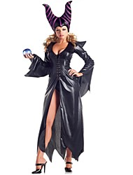 cheap -Witch Cosplay Costume Halloween Festival / Holiday Polyster Black Carnival Costumes Fashion