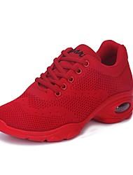 cheap -Women's Dance Shoes Knit Dance Sneakers Sneaker Low Heel White / Black / Red / EU40