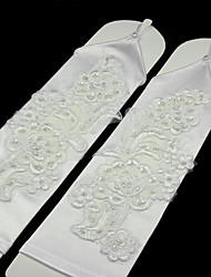 cheap -Spandex Fabric Elbow Length Glove Luxury / Bridal Gloves / Party / Evening Gloves With Pearl / Embroidery