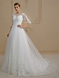 cheap -Ball Gown Wedding Dresses Bateau Neck Court Train Lace Over Tulle 3/4 Length Sleeve Glamorous Plus Size Backless Illusion Sleeve with Buttons Appliques 2021