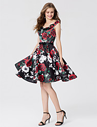 cheap -Ball Gown Straps Knee Length Satin Open Back / Pattern Dress Cocktail Party / Prom Dress 2020 with Bow(s) / Sash / Ribbon
