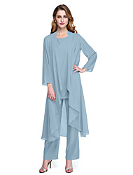cheap -Pantsuit / Jumpsuit Mother of the Bride Dress Plus Size Elegant Bateau Neck Floor Length Chiffon Long Sleeve with Sash / Ribbon Crystals 2021