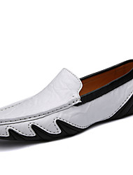 cheap -Men's Moccasin Nappa Leather Fall / Winter Loafers & Slip-Ons Black / White / Blue / Party & Evening / Party & Evening