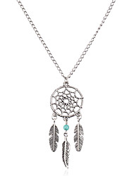 cheap -Women's Turquoise Pendant Necklace Chain Necklace Leaf Wings Dream Catcher Ladies Bohemian Vintage Fashion Turquoise Alloy Silver Necklace Jewelry For Gift Daily Casual Street Club