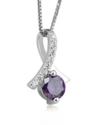 cheap -Women's AAA Cubic Zirconia Amethyst Pendant Necklace Simulated Ladies Fashion Cute Sterling Silver Zircon White Purple Necklace Jewelry For Engagement Ceremony