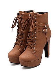 cheap -Women's Boots Chunky Heel Round Toe Buckle / Lace-up PU Booties / Ankle Boots Comfort / Novelty / Fashion Boots Fall / Winter Black / Brown / Beige
