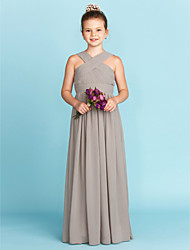 cheap -A-Line / Princess V Neck Floor Length Chiffon Junior Bridesmaid Dress with Sash / Ribbon / Criss Cross / Wedding Party / Open Back