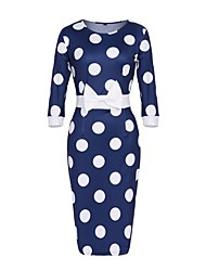 cheap -Women's Plus Size Blue White Dress Vintage Summer Sheath Polka Dot Blue Print S M Slim