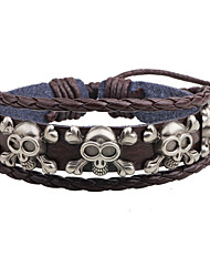 cheap -Men's Leather Bracelet Skull Leather Bracelet Jewelry Brown For Casual Street
