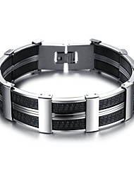 cheap -Men's Boys' Cuff Bracelet Bracelet Geometrical Simple Style Fashion Initial Titanium Steel Bracelet Jewelry Silver For Daily Office & Career
