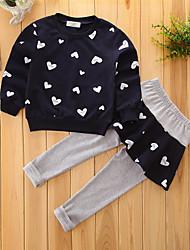 cheap -Toddler Girls' Floral Dresswear Geometic Long Sleeve Regular Regular Cotton Clothing Set Red