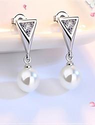 cheap -Women's Diamond Cubic Zirconia Pearl Stud Earrings Ladies Luxury Fashion Zircon Earrings Jewelry Silver For Daily Work