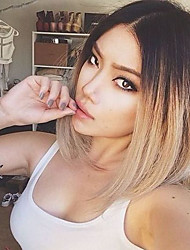 cheap -Human Hair Glueless Lace Front Full Lace Lace Front Wig Layered Haircut with Baby Hair Kardashian style Brazilian Hair Straight Wig 130% Density Middle Part Bob Natural Hairline African American Wig