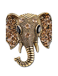cheap -Women's Brooches Elephant Animal Ladies Personalized Indian Rhinestone Silver Plated Brooch Jewelry Gold Silver For Gift Stage