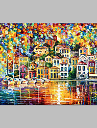 cheap -Hand-Painted Architecture Horizontal Panoramic,Artistic Outdoor One Panel Canvas Oil Painting For Home Decoration