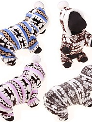 cheap -Dog Sweater Hoodie Jumpsuit Winter Dog Clothes Blue Pink Gray Costume Cotton Reindeer Casual / Daily Cute S M L XL XXL
