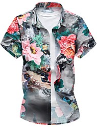cheap -Men's Daily Weekend Plus Size Cotton Slim Shirt - Floral Print Blue / Short Sleeve / Summer / Fall