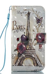 cheap -Case For Apple iPhone 7 Plus / iPhone 7 / iPhone 6s Plus Wallet / Card Holder / Flip Full Body Cases Scenery / Eiffel Tower Hard PU Leather