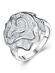 cheap -Women's Band Ring Silver Zircon Silver Plated Ladies Basic Fashion Party Office & Career Jewelry Roses Flower