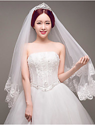 cheap -Two-tier Lace Applique Edge Wedding Veil Blusher Veils / Fingertip Veils with Appliques / Sparkling Glitter Tulle / Oval