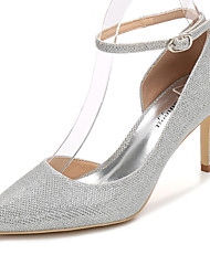 cheap -Women's Wedding Shoes Stiletto Heel Pointed Toe Glitter Basic Pump / Ankle Strap Spring / Fall Gold / Silver / Party & Evening