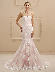 cheap -Mermaid / Trumpet Wedding Dresses Sweetheart Neckline Court Train Lace Strapless Sexy Illusion Detail with Appliques 2021