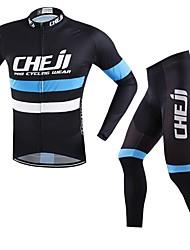 cheap -cheji® Men's Long Sleeve Cycling Jersey with Tights Bike Clothing Suit Quick Dry Sports Horizontal Stripes Mountain Bike MTB Road Bike Cycling Clothing Apparel