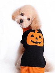 cheap -Cat Dog Coat Sweater Christmas Dog Clothes Pumpkin Black Spandex Cotton/Linen Blend Costume For Pets Party Casual/Daily Cosplay Keep Warm