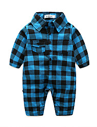 cheap -Baby Boys' Check Plaid Long Sleeve Overall & Jumpsuit Light Blue