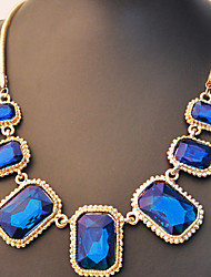 cheap -Women's Pendant Necklace Statement Necklace Emerald Cut Mother Daughter Ladies Luxury Fashion Chunky Rhinestone Alloy Dark Green Dark Blue Necklace Jewelry For Daily Casual