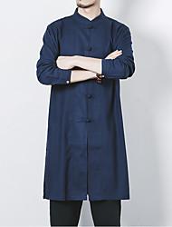 Недорогие -Муж. Большие размеры Однотонный Классический Тонкие Рубашка - Лён Шинуазери (китайский стиль) Повседневные Воротник-стойка Белый / Черный / Темно-серый / Темно синий / Весна / Осень / Длинный рукав