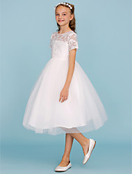 cheap -Princess / A-Line Knee Length Wedding / First Communion Flower Girl Dresses - Lace / Tulle Short Sleeve Crew Neck with Pleats